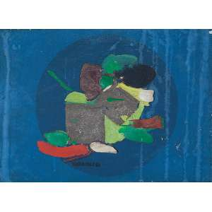 MARIA POLO<br />Opus. Óleo e prata sobre linho, 16 x 22 cm. Assinado ao centro, datado de 67.