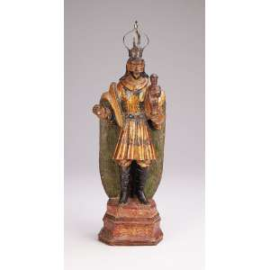 São José de Botas <br />Imagem de madeira policromada e dourada. Coroa de prata. <br />30 cm. Brasil, séc. XVIII.