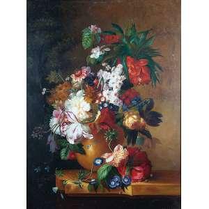 AUTORIA DESCONHECIDA<br />Pote com flores. Ost, 120 x 90 cm.