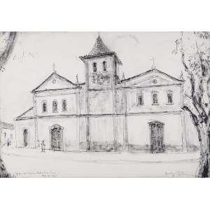 RENÉE LEFÈVRE<br />Igreja do Carmo. Nanquim, 33 x 47 cm. Assinado no cid, datado de 73, <br />situado em Mogi das Cruzes, no cie.