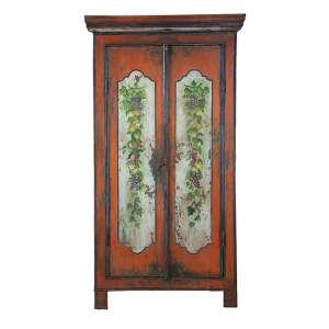 Armário de madeira policromada, duas portas frontais as laterais com pintura de frutos. <br />100 x 45 x 190 cm de altura. Internamente três prateleiras. Brasil, séc. XX.