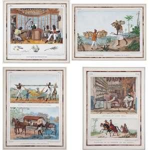 DEBRET, Jean Baptiste<br />Coleção de 74 litogravuras aquareladas a mão, extraídas dos livros <br />Voyage Pittoresque e Historique au Bresil.