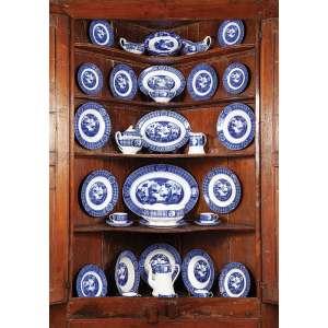 Remanescente de serviço para jantar de louça inglesa azul e branca, totalizando 32 peças de <br />formatos diferentes. 42 x 31 cm, a travessa maior. Manufatura Mongólia de Johnson Bross.