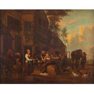 LUNDENS GERRIT (1622 - ?) (atribuído)<br />Cena Campestre. Ost, 55 x 70 cm.
