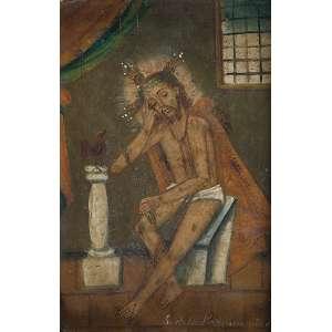 Nosso Senhor da coluna<br />Ex-voto, óleo sobre zinco, 27 x 18 cm. Séc. XVII/XVIII.