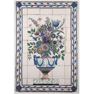 Painel composto de 35 azulejos retratando ânfora com flores. <br />94 x 65 cm. Portugal, séc. XIX.