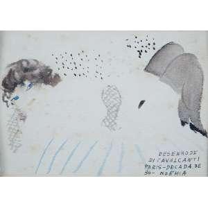 DI CAVALCANTI<br />Figura feminina. Aquarela sobre papel. 10,5 x 14,5 cm. No canto inferior esquerdo: <br />Desenho de Di Cavalcanti. Paris Década de 30 Noêmia.