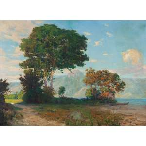PAULO DO VALLE JR. <br />Paisagem. Ost, 115 x 156 cm. Assinado e datado de 1918 no cid.