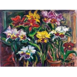 SÉRGIO TELLES<br />Orquídeas. Ost, 60 x 80 cm. Assinado e datado de 2001 no cie.