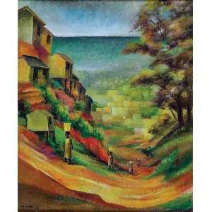 ANTONIO GOMIDE<br />Favela. Ost, 55 x 46 cm. Assinado e datado de 59 no cie.<br />Proveniência: Dan Galeria, conforme etiqueta no verso.