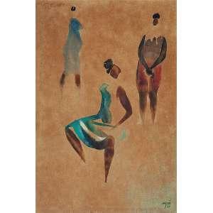 HECTOR CARIBÉ<br />Três mulheres. Aquarela sobre cartão. 56 x 38 cm. Assinada e datada de 79 no cid.