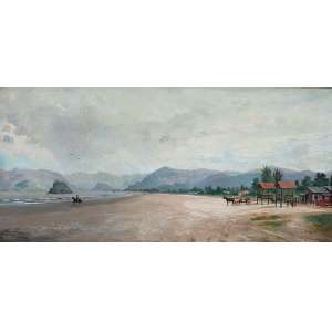 BENEDITO CALIXTO<br />Paisagem com marinha. Ost, 35 x 75 cm. Assinado e datado de 1890 no cid.