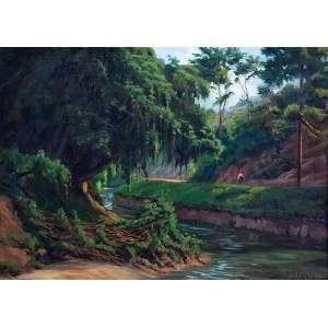 BATISTA DA COSTA<br />Paisagem, Rio Piabanha - Petrópolis. Ost, 30 x 43 cm. Assinado no cid.