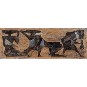 KARL PLATTNER<br />Pescadores. Técnica mista sobre cartão colado em placa, 35 x 95 cm. <br />Assinado e datado de 54 no cid.