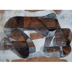 KARL PLATTNER<br />Figura deitada. Técnica mista sobre papel, 22 x 30 cm. Assinada e datada de 52 no cid.<br />Obra reproduzida na capa da revista 11 HABITAT.