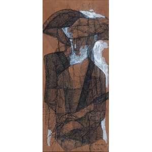 KARL PLATTNER<br />Bandeirante. Técnica mista sobre papel, 38,5 x 17,5 cm. Assinado e datado de 53 no cid.
