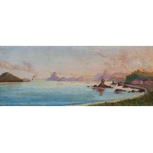 NICOLAU FACCHINETTI<br />Ilha de Paquetá (chegada da barca). Osm, 11 x 27 cm. Vestígios da assinatura e data de 1885 no cie.<br />Reproduzido com descrição equivocada no livro FACCHINETTI por Donato Mello Junior Art Editora.