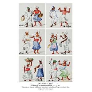 ALFREDO VOLPI<br />Conjunto de seis pequenos azulejos de 7,5 x 7,5 cm cada, com pintura de diferentes cenas,<br />todos assinados por Volpi, permitindo várias configurações de montagem.