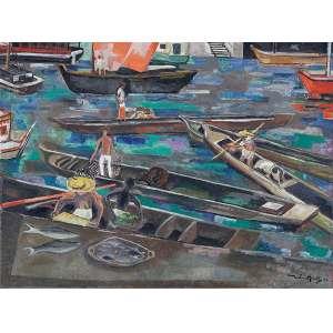 JOHN GRAZ<br />Canoas com pescadores. Osc, 78,5 x 103 cm. Assinado e datado de 49 no cid.