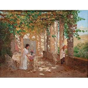 PEDRO WEINGARTNER<br />Terraço romano. Ost, 36 x 46 cm. Assinado no cid.