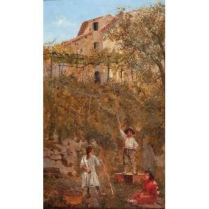 PEDRO WEINGARTNER<br />Casario e crianças. Osm, 23,5 x 13,5 cm. Assinado no cie.