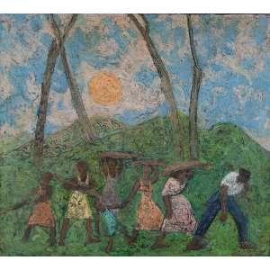 FRANCISCO REBOLO<br />Paisagem com lenhadores. Ost, 90 x 100 cm. Assinado e datado de 1965 no cid.<br />Participou da Exposição Mostra Grupo Santa Helena, na BM&F de outubro a dezembro de 2005.