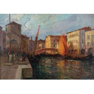 ESCOLA EUROPÉIA (Séc. XIX)<br />Canal com edificações, figuras e barcos. Ost, 85 x 120 cm.