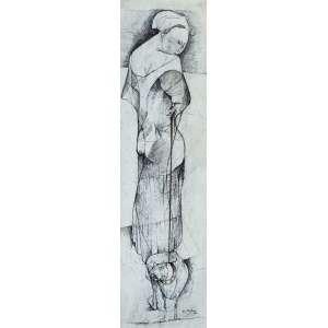 KARL PLATTNER<br />Sem título. Nanquim sobre papel, 40 x 11 cm. Assinado e datado de 1956 no cid.