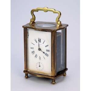 Carriage clock, com despertador. Caixa de bronze, mostrador no estado. - 11 cm de altura. - França, séc. XIX.