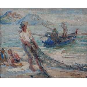 LUCÍLIO DE ALBUQUERQUE<br />Marinha com pescadores. Ost, 32 x 40 cm. Assinado no cid.