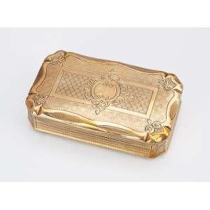 Requintada caixa porta drágeas de prata com banho de ouro. - Contraste para prata francesa cabeça de Mercúrio. - 8,5 x 5 cm. - Séc. XIX.