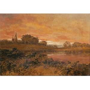 JORGE DE MENDONÇA<br />Paisagem com lago. Ost, 45 x 65 cm. Assinado no cie.