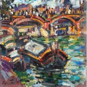 SÉRGIO TELLES<br />Barcaças no Sena. Ost, 30 x 30 cm. Assinado no cie.<br />No verso situado Paris, datado de 1991.