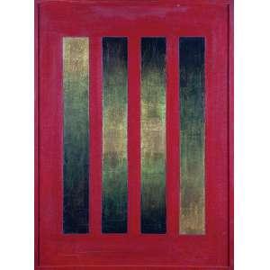 WALDEMAR DA COSTA<br />Estático sem o verde. Técnica mista com lâminas de ouro, 80 x 60 cm. <br />Assinado, situado e datado de 968 no cid.