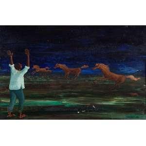 CLÓVIS GRACIANO<br />Figura e cavalos. Ost, 27 x 40 cm. Assinado e datado de 69 no cid. (necessita restauro).