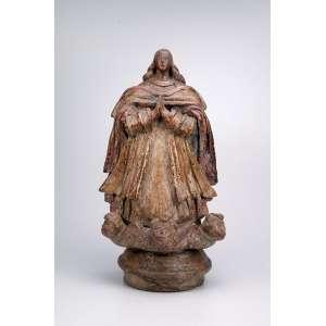 Nossa Senhora da Conceição, moldada em barro cozido, com remanescente de pátina.<br />Excelente imagem com proporções incomuns, século XVII.<br />Ex-coleção Margarida Lara.