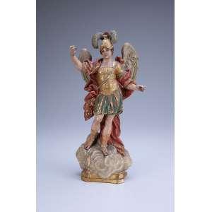 São Miguel Arcanjo.<br />Imagem de madeira policromada e dourada. 32 cm de altura. Portugal, séc. XVIII. (falta a balança e a lança).