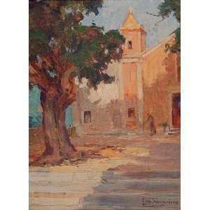 EDGARD PARREIRAS<br />Igreja do Saco de São Francisco - Niterói. Osm, 35 x 26,5 cm. Assinado no cid.