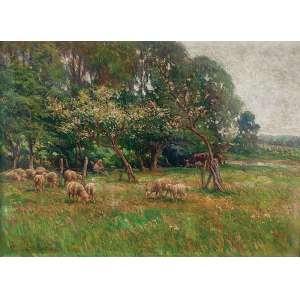 PREVOT VALERI-AUGUSTE<br />Paisagem com ovelhas. Ost, 73 x 100 cm. Assinado o cie.<br />No verso carimbo da Galeria Jorge - Rio de Janeiro.