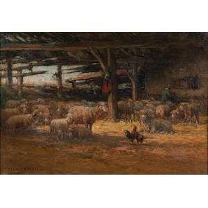 PREVOT VALERI-AUGUSTE<br />Estábulo com ovelhas. Ost, 60 x 86 cm. Assinado no cie.<br />No verso carimbo da Galeria Jorge - Rio de Janeiro.