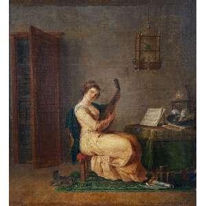 TENIERS, David. The Younger - (atribuído)<br />Mulher tocando guitarra. Ost, 36 x 33 cm. <br />Proveniência: Coleção Madame Grendberg, conforme recibo da Galerie Léopold, de Bruxelas, <br />datado de 18/2/933, adquirido pelo Sr. Luiz de Assumpção.<br />Ex-coleção Hembaldo Siciliano.