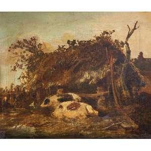 MICHETTI, Francesco Paolo (atribuído)<br />Choupana e porcos. Ost, 31 x 36 cm. Assinado no cid.