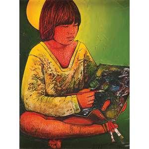 QUISSAK JUNIOR<br />Jovem pintora. Osp, 40 x 30 cm. Assinado e datado de 79 no cid.<br />Base: de 1.500 por 1.000