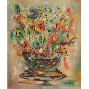 IVAN BLIN<br />Vaso de flores. Ost, 55 x 46 cm. Assinado e datado de 60 no verso.<br />Base: de 800 por 500