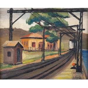 ARNALDO FERRARI<br />Plataforma ferroviária. Os cartão, 22 x 27 cm. Assinado no cid. Década de 40.<br />Base: de 2.500 por 2.000
