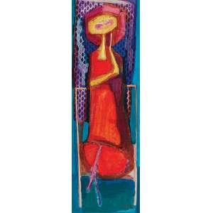 GLÊNIO BIANCHETTI Mulher com sombrinha. Os placa, 117 x 39 cm. Assinado e datado de 1968 no cid.