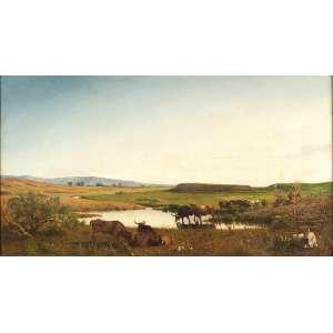 PALIZZI, Filippo (1818-1899) Paisagem campestre com lago e gado. Ost, 68,5 x 117 cm. Assinado no cie.