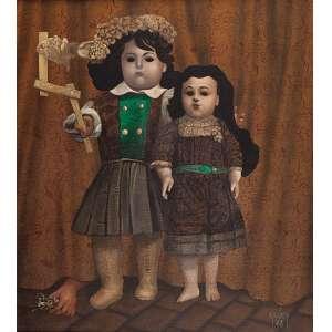 MARIO GRUBER Duas meninas. Ost, 84 x 73 cm. Assinado e datado de 1978 no cid. Coleção Yolanda Ferraz de Camargo.