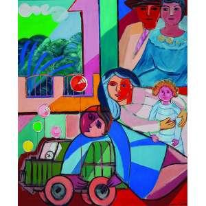 CÍCERO DIAS Família e brinquedos. Ost, 73 x 60 cm. Assinado no cie. Coleção Yolanda Ferraz de Camargo.