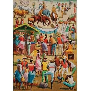 CARIBÉ Figuras. Vinil sobre placa, 49,5 x 35 cm. Assinado e datado de 1986 no cid.